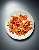 Remains of shrimps on a plate