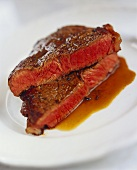 Halved, seared steak