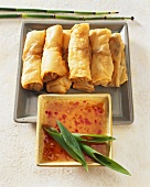 Spring rolls with sweet and sour chili sauce (China)