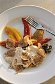 Peperonata with tuna cream and white truffles