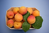 Fresh apricots in a woodchip box (overhead view)