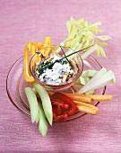Vegetable sticks with Roquefort quark