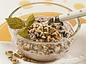 Sunflower seed and blueberry muesli with kefir