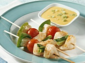Fish and vegetable kebabs with mango sauce