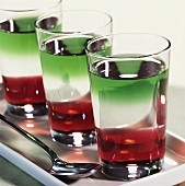 'Italian Pousse Café' (three-coloured cocktail)