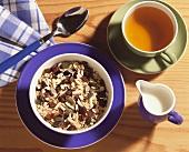 Breakfast of muesli and tea
