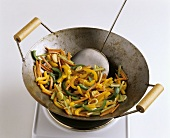 Peppers in a wok