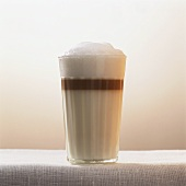 Latte macchiato with a dash of vodka and amaretto