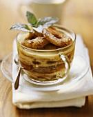 Scheiterhaufen (bread pudding) with apple slices in glass