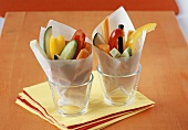 Vegetable sticks in sandwich wrap