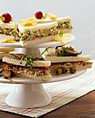 Tramezzini with tuna cream and with egg salad