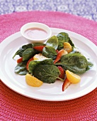 Spinach salad with mandarin oranges and strawberries