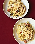 Linguini with courgettes, tomatoes and Parmesan