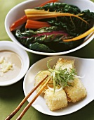 Deep-fried tofu cubes with rainbow chard