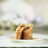 Sweet spring roll with apple and cinnamon filling