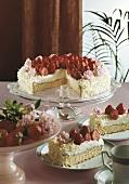 Strawberry gateau with sugar roses