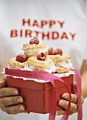 Profiteroles with raspberry cream for birthday