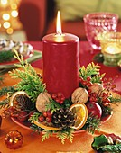 Small Advent wreath with red candle