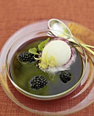Blackberry soup with lemon sorbet