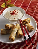 Spring rolls with spicy soft cheese dip