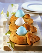 Greek Easter bread 'bows' with Easter eggs