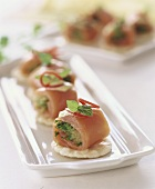 Salmon rolls with herb filling