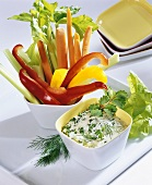 Vegetable sticks with herb dip