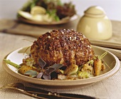 Roast veal with mustard seeds and vegetables