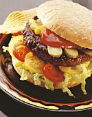 Hamburger with tomato and sweetcorn