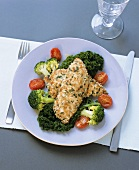Chicken escalopes in sesame panade and broccoli