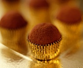 Chocolate truffles in petit four cases