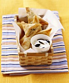 Small pasties with yoghurt dip