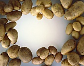 Potatoes arranged around the edge of the picture
