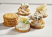 Crackers with soft cheese spread