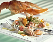 Freshwater crayfish with vegetables and dill sauce
