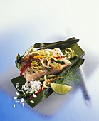 Salmon in banana leaf