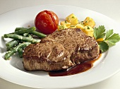 Rump steak with beans and potatoes