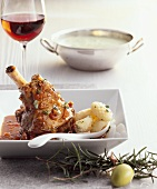 Lamb shank in red wine with gnocchi