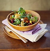 Spring salad with watercress, potatoes and vegetable crisps