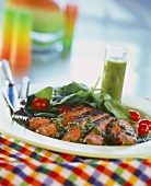 Roast beef fillets with pesto