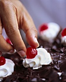 Eating cherry from Black Forest cherry gateau