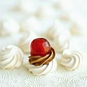 Meringue cake with cherry