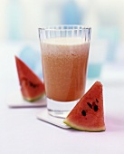Watermelon drink and pieces of melon