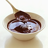 Liquid chocolate in a bowl