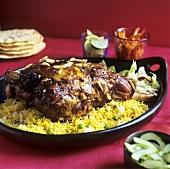 Roast lamb on curried rice