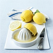 Still life with lemons and lemon squeezer