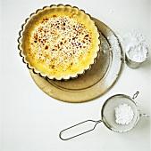 Lemon tart with icing sugar