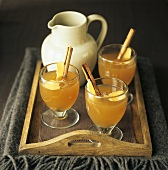 Hot apple juice with cinnamon and ginger