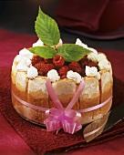 Raspberry charlotte with fresh raspberries