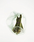 A bundle of green asparagus in plastic bag